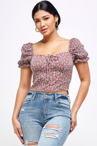 Rust Floral Smocked Crop Top