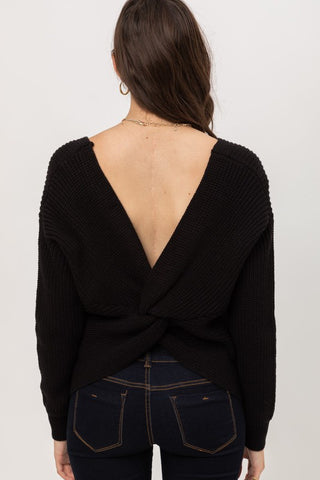 Black Twist Back Sweater