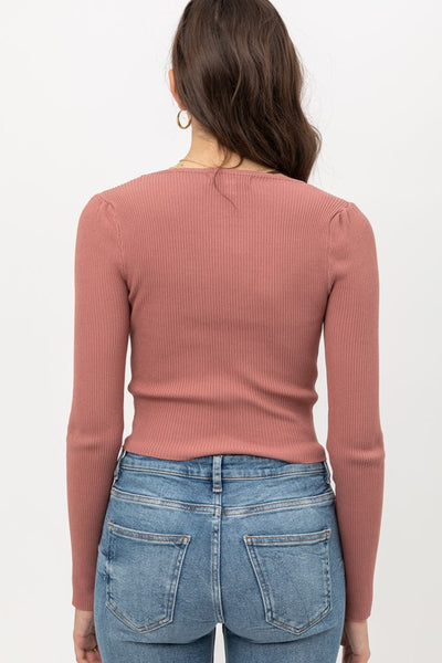 Mauve Long Sleeve Pinched Sweater Top