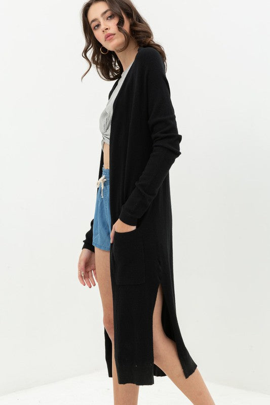 Black Smooth Knit Long Cardigan--FINAL SALE