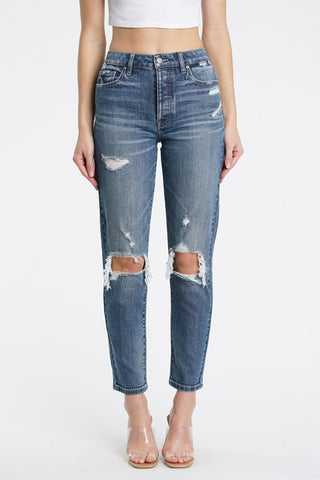 Dark High Waist Ripped Knees Tobi Jeans