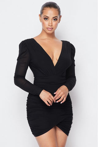 Wrapped V Back Ruched Mini Dress--SEE COLORS