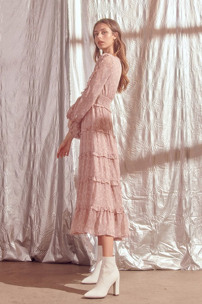 Pale Pink Paisley Ruffle Midi Dress