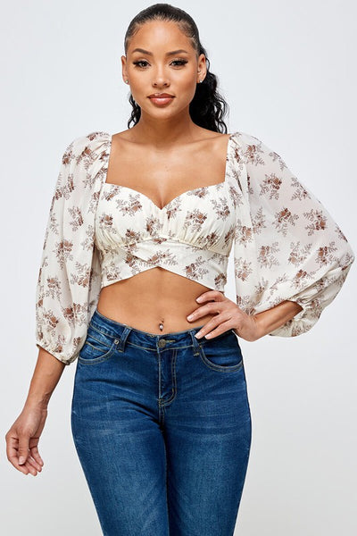 Ivory Floral Crop Wrap & Tie Back Blouse