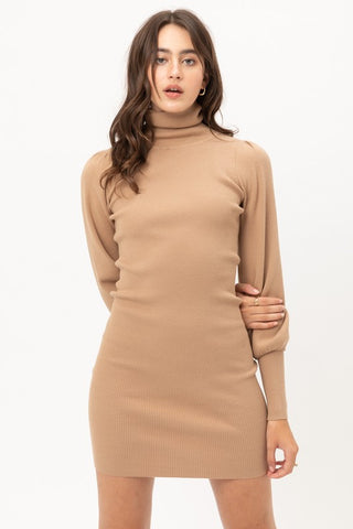 Camel Turtleneck Sweater Dress