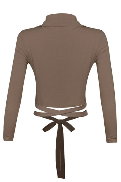 Wrap & Tie Collar Crop Top--SEE COLORS