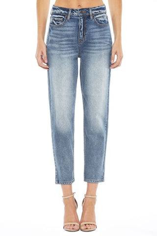 Faded Medium Wash Cotton Mom Jeans