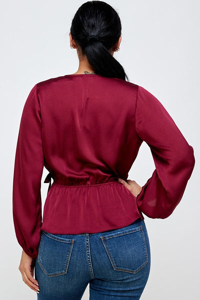 Wine Satin Wrap & Tie LS Blouse