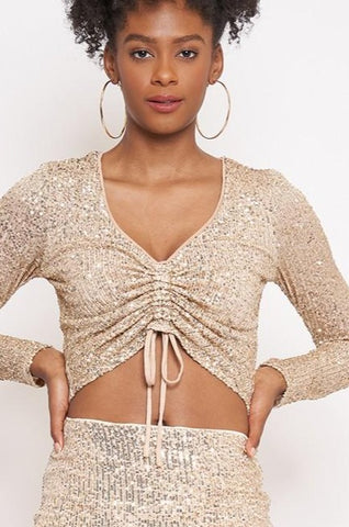 Champagne Sequin Drawstring Crop Top