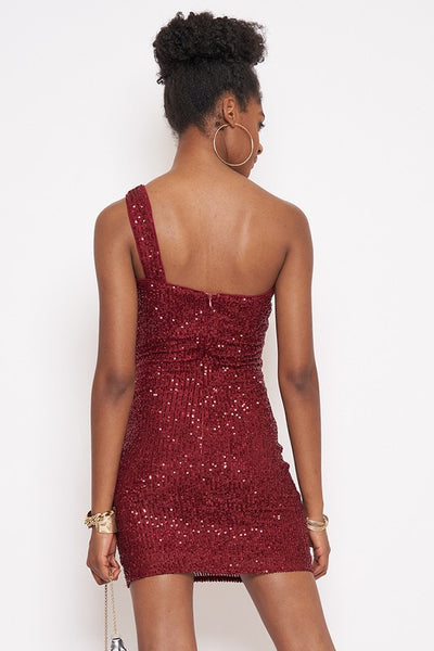 Burgundy Sequin 1 Shoulder Dress