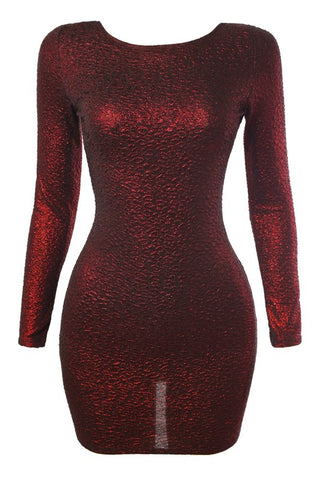 Dark Red Glittery Open Back LS Dress