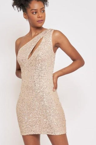 Champagne Sequin 1 Shoulder Dress