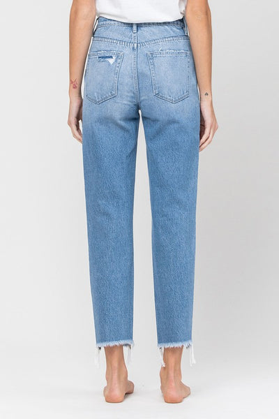 Distressed Raw Hem Mom Jeans