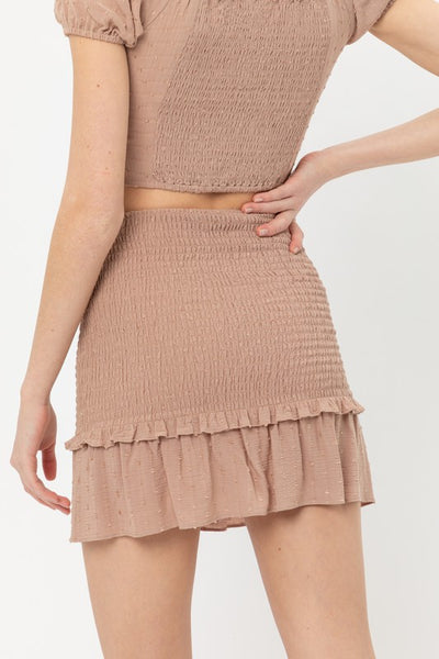 Mocha Smocked Ruffle Mini Skirt