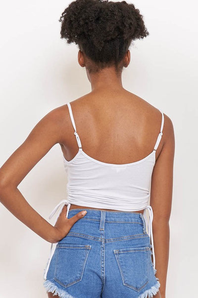 White Ruched Drawstring Side Strappy Crop Top