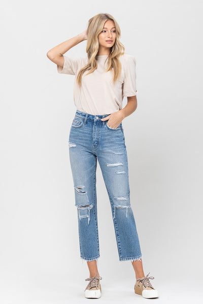 Medium Wash Distressed Straight Jeans