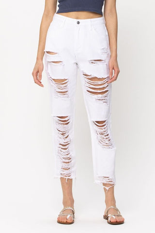 White High Waist Destroyed Jeans