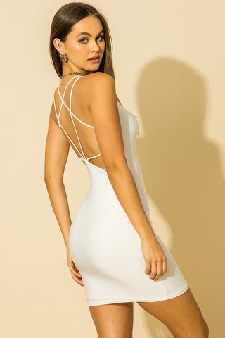 Off White Strappy Open Back Mini Dress