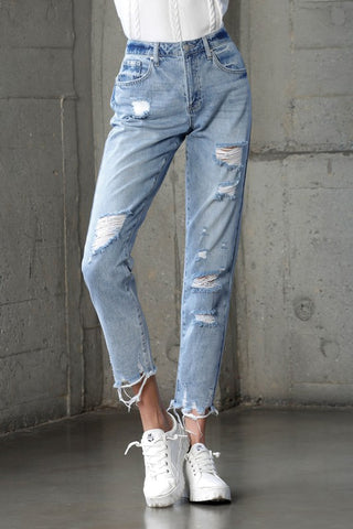 Light Wash Distressed Girlfriend Jeans
