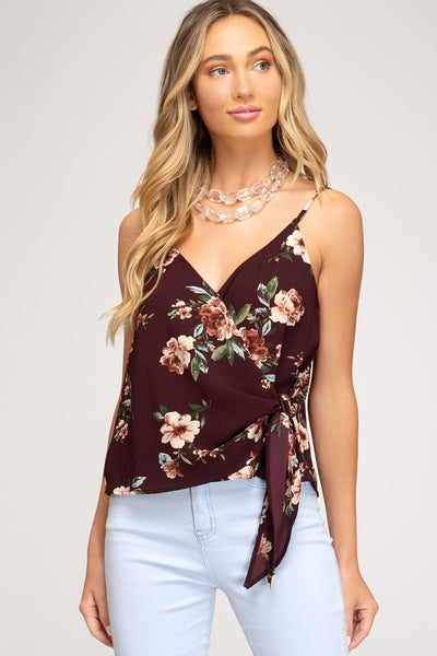 Plum Floral Strappy Tied Cami Top**
