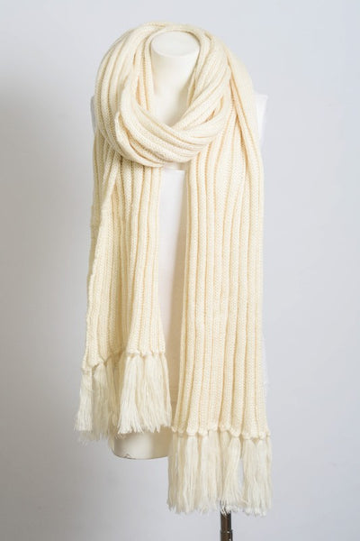 Rib Knit Tassel Scarf--SEE COLORS