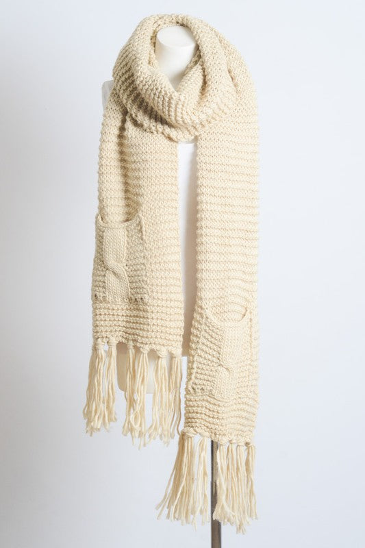 Oversize 2 Pocket Tassel Scarf--SEE COLORS