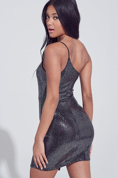 Black Metallic Sparkle 1 Strap Dress