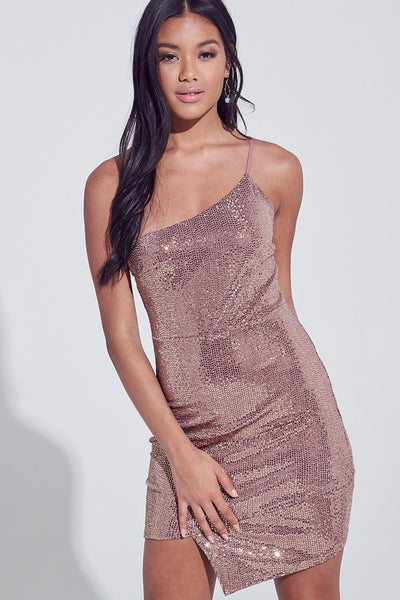 Gold Metallic Sparkle 1 Strap Dress