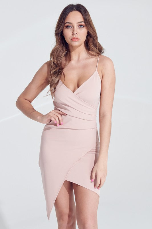 Nude Rose Strappy Asymmetric Crossover Dress**
