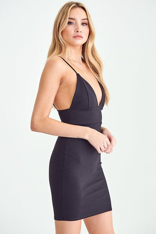 Black Triangle Top Mini Dress**