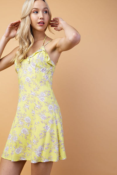 Lemon Yellow Floral Rayon Ruffled Sundress**