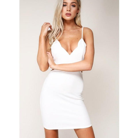 White Ivory Scalloped Edge Cutout Bodycon Dress*