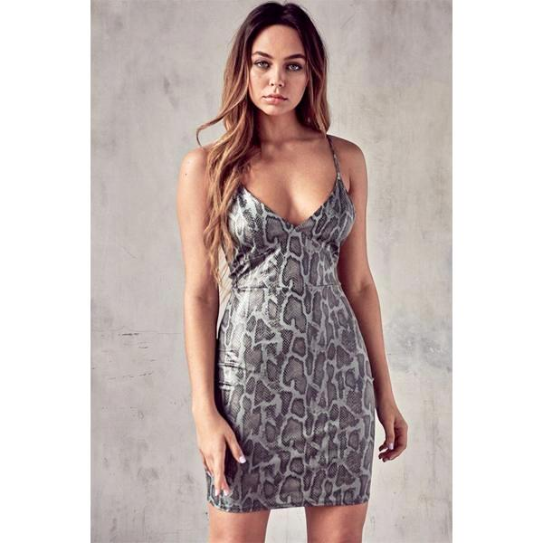 Grey Faux Snake Tie Back Dress**