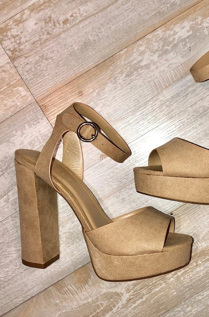 Natural Faux Suede Platform Heels--FINAL SALE