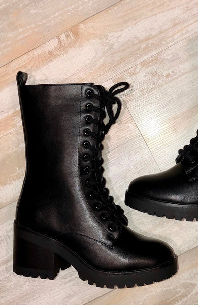 Black Faux Leather Mid Heel Combat Boots--FINAL SALE