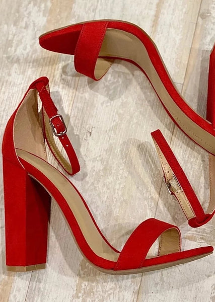 Red Faux Suede Heels--FINAL SALE