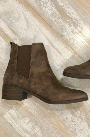 Brown Low Heel Bootie**