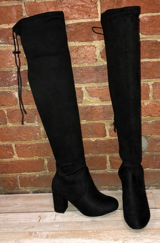 Black Faux Suede Over The Knee Boots -- RESTOCKING BY 10/25