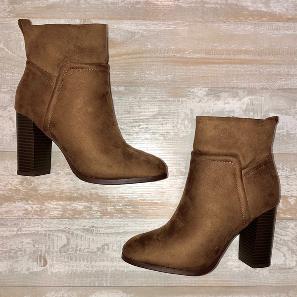 Chestnut Faux Suede High Heel Booties