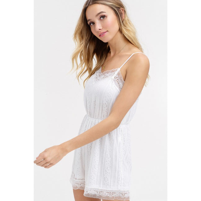 Ivory Floral Lace Strappy Romper**