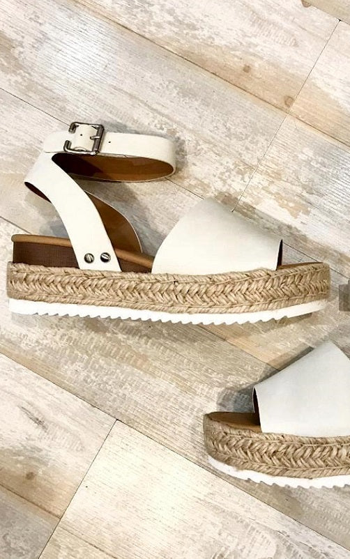 White Espadrille Platform Sandals--FINAL SALE