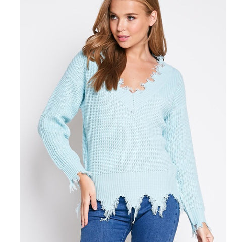 Light Blue Distressed Vneck Sweater*