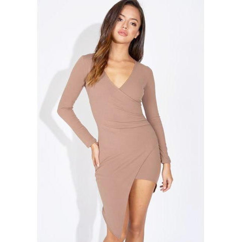 Coco Asymmetric Long Sleeve Wrap Dress*