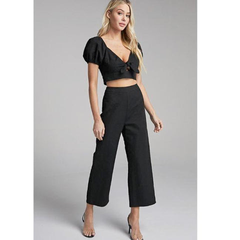 Black Tied Puff Sleeve Crop Top & Pants Set**