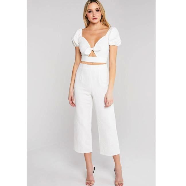 White Tied Puff Sleeve Crop Top & Pants Set**