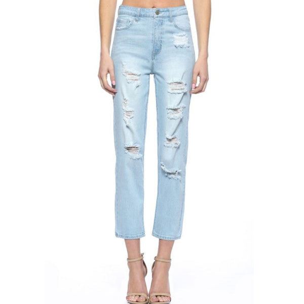 Light Denim Ripped High Waist Loose Fit Jeans**