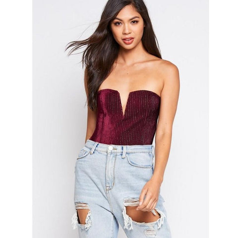 Red Wine Velvet Strapless VSlit Bodysuit