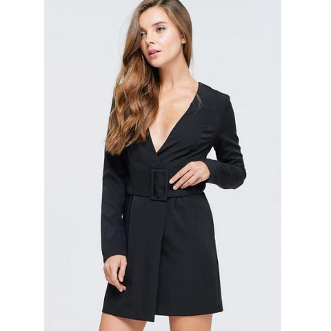Black Wide Belt Blazer Dress**