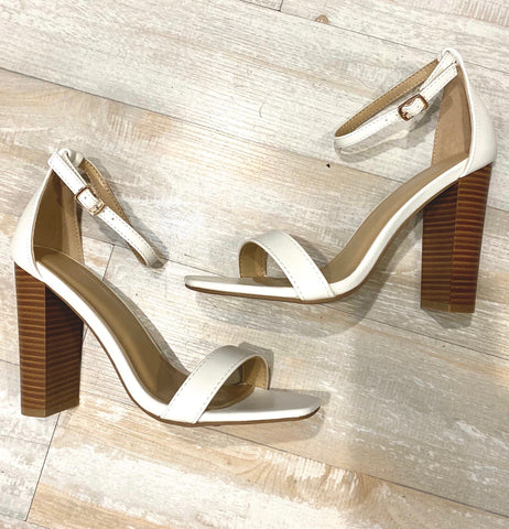 White Square Toe Wood Heels--FINAL SALE