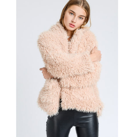 Light Sand Soft Faux Fur Hooded Jacket*
